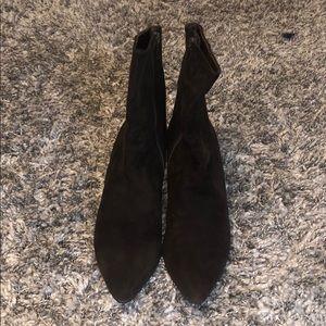 Brown suede heeled booties